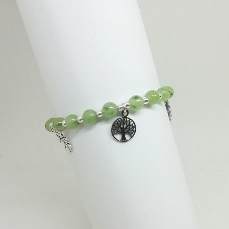 Meraki - Pulsera de Jade Verde y Plata