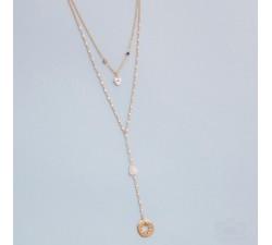 Collar Mujer Y baño de oro dos lineas de cadena. piedras nat y perlas de rio Tantrend